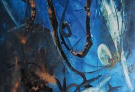 LE TOUMELIN Yahne, L'oeuf de la nuit, huile sur papier marouflée sur toile, monogrammée en bas à droite et datée 1962, 228 x 102 cm