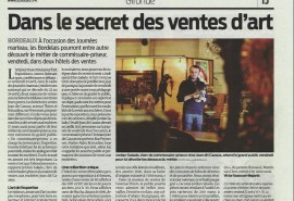 """""""Dans le secret des ventes d'art"""", Sud Ouest du 21-04-16"""