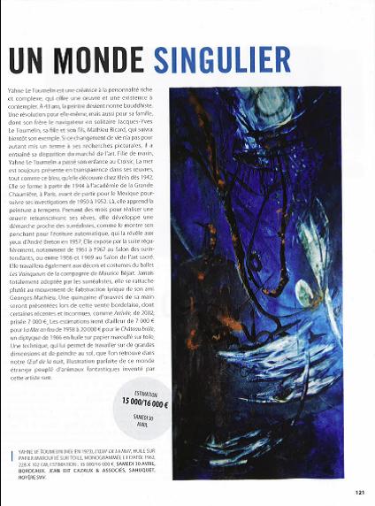 """""""UN MONDE SINGULIER"""" - Gazette Drouot, Parution du 22 Avril 2016, Page 121"""